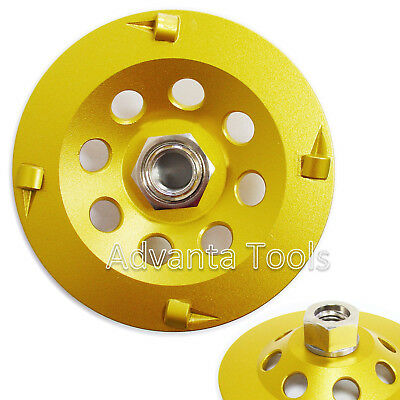 "4.5"" Quarter Round PCD Grinding Cup Wheel 4 Segments w/ 5/8""-11Threaded Adapter"