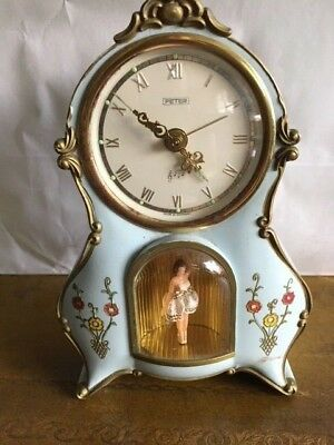 Antique vintage light blue rensie Germany musical alarm clock with ballerina