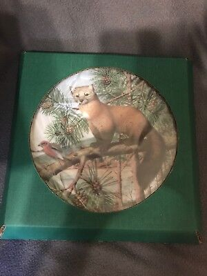 Franklin Porcelain Woodland Year American Marten in the November Pines Plate NEW