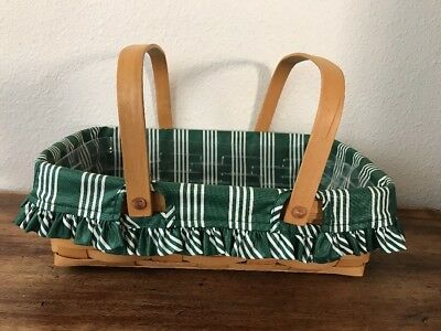 "1998 Longaberger Small 14"" Gathering Basket With Insert And Green Protector."