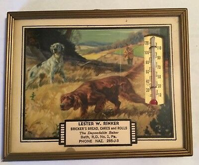 Vintage Thermometer  1951 Calendar In Frame Bath Pa Bakery Advertising