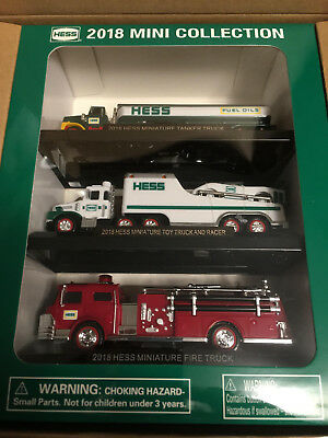 2018 HESS Mini Collection FIRE TRUCK, TANKER & TRUCK & RACER * Sold Out *