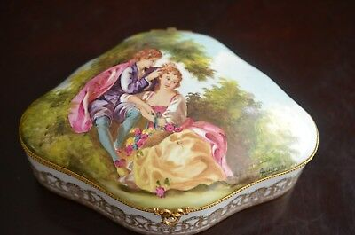 Antique Sevres French Porcelain Dresser/Jewelry Box Hand Painted Signed