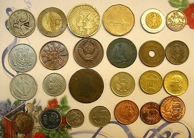 25 World Coin Lot Assorted Dates,. Nice Varieties, Nationalities And Designs