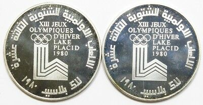 Lot of 2 - Lebanon 10 Livres 1980 Proof Lake Placid Winter Olympics Low Mintage