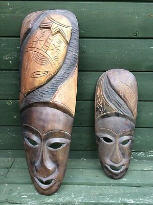 2 x Antique African Carved Wooden Tribal Masks