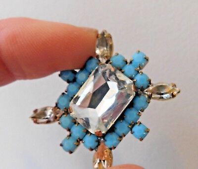 Vintage Style Czech Rhinestone Button~Turquoise~Clear~Glass