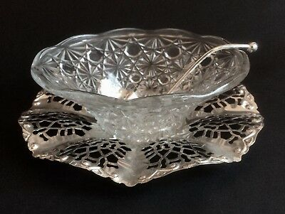 Fab Vintage Ornate Glass Serving Dish & Silver-Plated Base With Serving Ladle