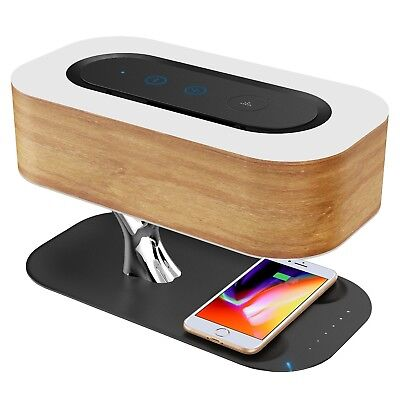Ampulla Bedside Lamp with Bluetooth Speaker and Wireless Charger, Sleep Mode ...