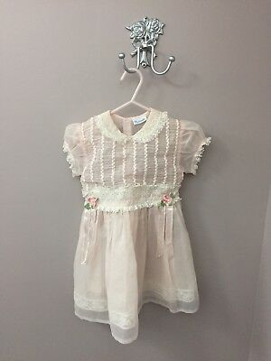 Vintage 1950s NANNETTE Little Girls Sheer Pink Nylon Party Dress 1950's