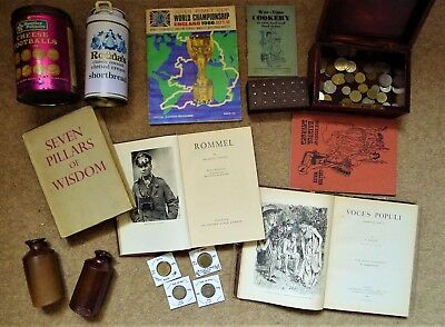 3.6kg+ COLLECTIBLES JOB LOT, ANTIQUE/VINTAGE BOOKS, INKWELLS, TIN, COINS, BOXES+
