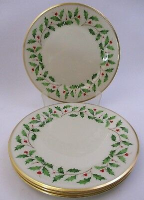 """Lenox - Holiday Holly Pattern - Set Of 4 Dinner Plates - 10.75"""" Wide (32L)"""