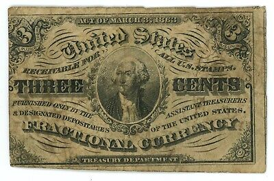 Fr. 1226 3 Cents Fractional Postage Currency 1864-1869 Third Issue