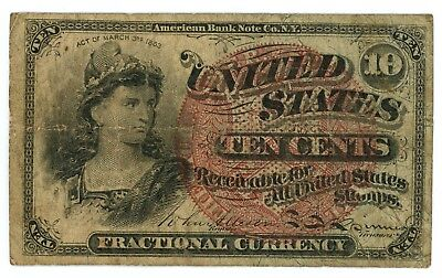 Fr. 1257 10 Cents Fractional Postage Currency 1869-1875 Fourth Issue