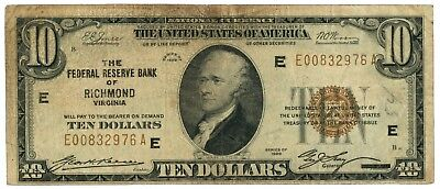 Fr. 1860E 1929 $10 Federal Reserve Bank of Richmond National Currency