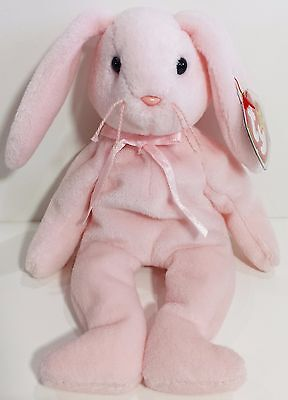 """TY Beanie Babies """"HOPPITY"""" Pink Easter Bunny RABBIT - MWMTs! RETIRED! GREAT GIFT"""