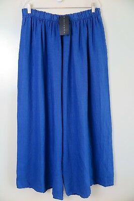 NWT Bryn Walker Royal Blue 100% Linen Wide Leg Crop Pants Size 2X MSRP $128