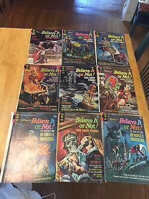 Lot of 9 Gold Key Ripley's Believe it or Not Comics 70s reader copies low grades
