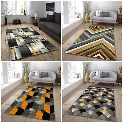 New Best Value Cheap Afforable Ochre Mustard Yellow Silver Grey Rugs Carpets Rug
