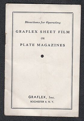 1950s Directions for Operating Graflex Sheet Film or Plate Magazines 8 pp RARE