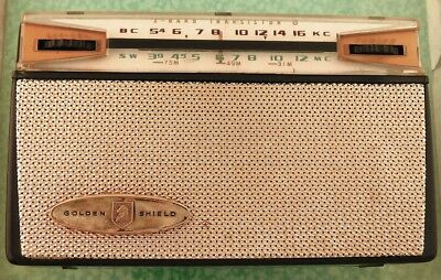 Vtg Hayakawa Golden Shield transistor radio Japan plays lot z431