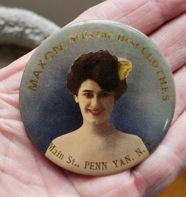 Early 1900's MAXON Sells The Best Clothes PENN YAN NY Advertising Pocket Mirror