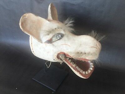Antique, Danced, w/Patina Japanese folk art (Fox) Mask w/Articulating Jaw