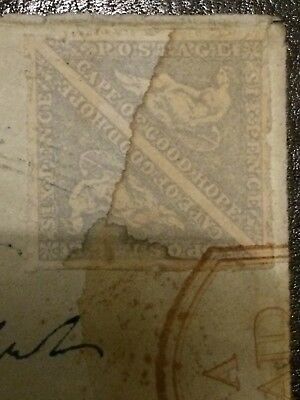 cape of good hope 6d  on piece of letter 1864 triangle Pair, Cat . SG19 £400