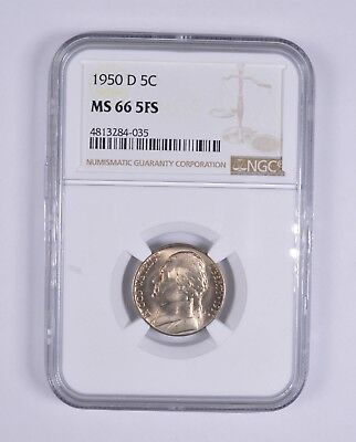 MS66 5FS 1950-D Full Steps Jefferson Nickel - NGC Graded *8937