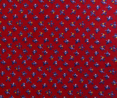 red fabric purple blue yellow floral cotton 1 5/8 yard quilting sewing