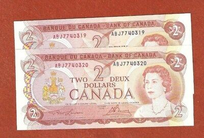 2 1974 Consecutive Serial Number Two Dollar Bank Notes Gem Uncirculated E107