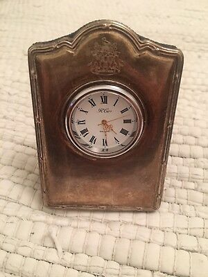 Hallmarked Antique Solid Silver Miniature R.Carr Clock with Crest /Coat of Arms