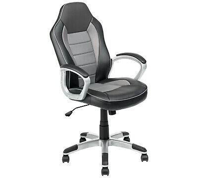 Grey Gaming Chair Office Desk Computer Study Chair Padded Swivel PU Leather