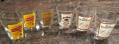 Early Times Jim Beam Old Forester I.W.Harper KY Whiskey Low Ball Glass Set Of 6