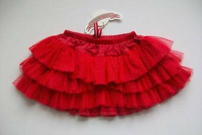 ls NWT Paper Wings Holiday Red Tulle Frilled Gold Polka Dot Ruffle Tutu Skirt 10