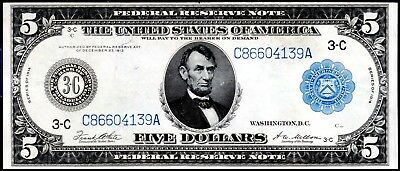 """104 YEAR-OLD 1914 LARGE-SIZE $5 """"TYPE-A"""" PHILADELPHIA FR-855a"""