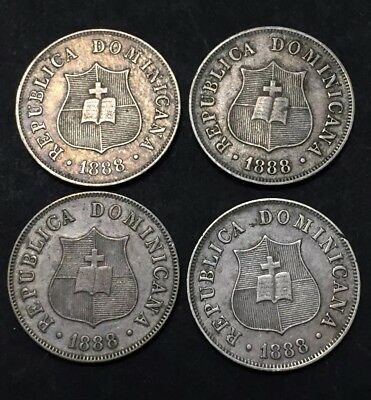 Dominican Republic 1888 2 1/2 Cents Large date Lot Of 4 Coins