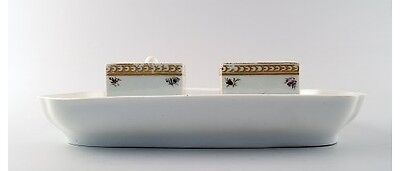 Early and rare Royal Copenhagen writing set with two inkwells.