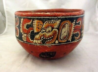 Antique Mayan Pre Columbian Painted Polychrome Pottery Bowl