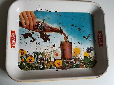 Vintage Coca-Cola Tray Serving Coke Tray Bottle Pouring Hand 13x10.5 Inches