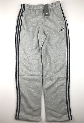 669097a6c Adidas Essentials Mens Large Grey Black Three Stripe Fleece Sweatpants NWT