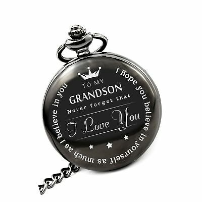 memory gift To My Grand Son Pocket watch to grandson Gifts From a Grandpa, Gr...