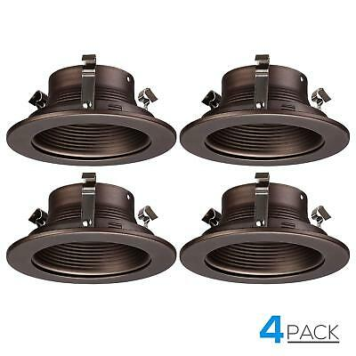 4-inch Recessed Can Light Trim with Oil Rubbed Bronze Step Baffle, Pack of 4