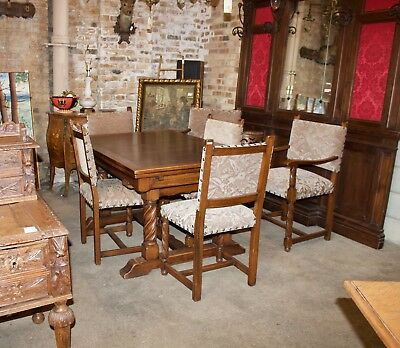GOTHIC DINING SET - OAK WITH 6 Chairs, 2 Leafs - From France