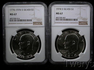2 Piece Lot 1974-S And 1976-S Eisenhower Dollars Silver Ngc Ms 67