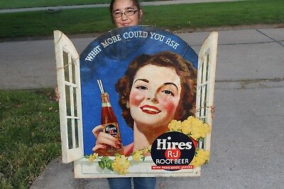 "Rare Large Vintage 1940's Hires Root Beer Soda Pop Gas Station 33"" Sign"