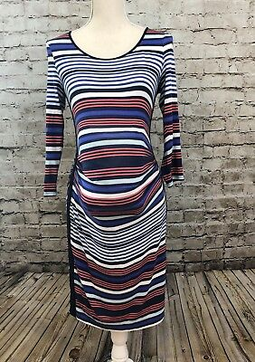 A PEA IN THE POD Maternity Sz S Multi Color Striped Stretch 3/4 Sleeve Dress