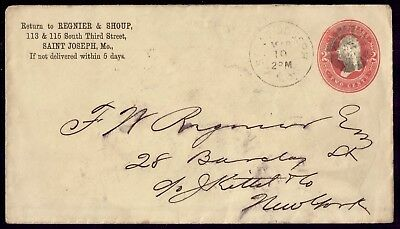 USA  Franked Saint Joseph March 1884 To New York F Cover