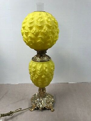 Antique Banquet Lamp Yellow Satin Glass Gwtw Oil To Electric W/chimney Euc!