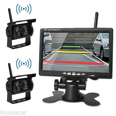 """For RV Bus Truck Wireless Rear View Backup Night Vision 2 Camera KIT +7"""" Monitor"""